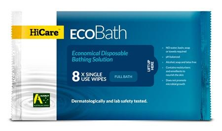 Pre-packaged Bathing Wipes | HiCare EcoBath | 8 Wipes
